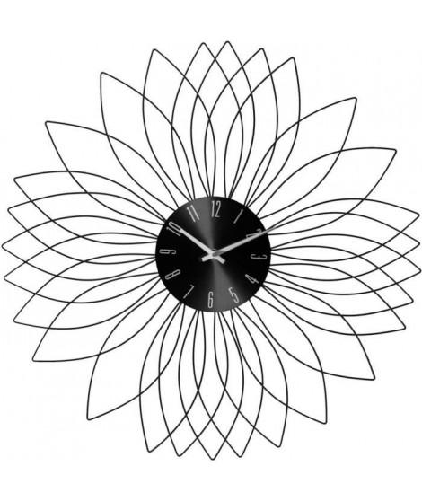 Pendule fleur en métal - Ø 50 x Ep. 4 cm - Noir