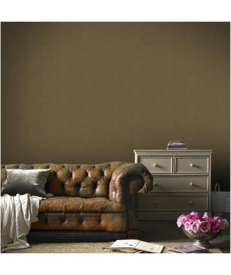 Papier peint double largeur Enduit Plâtre bronze 104 cm x 10m vinyle textué intissé marron