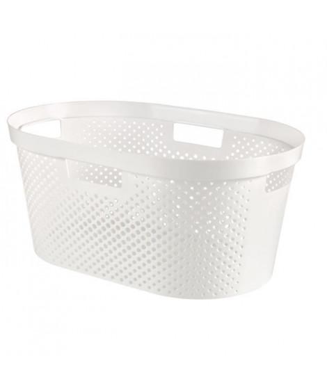 CURVER Panier a linge 40L Infinity Dots - Plastique recyclé - Blanc