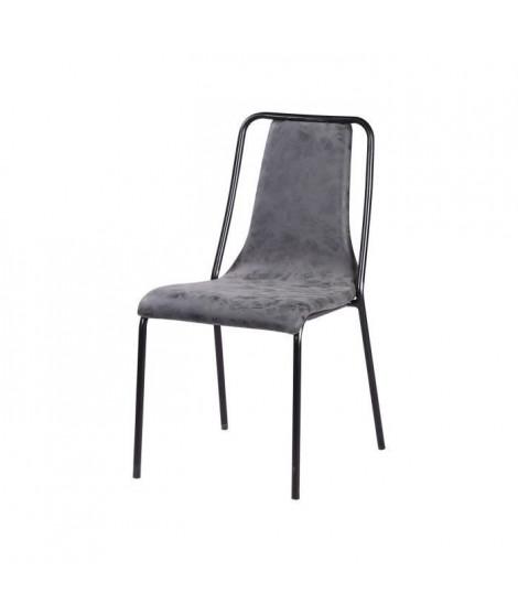 VINTOU Chaise de salle a manger - Simili gris - Style industriel - L 47 x P 56 cm