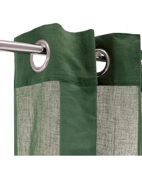 Voilage 100% coton - Vert foncé - 105x250 cm