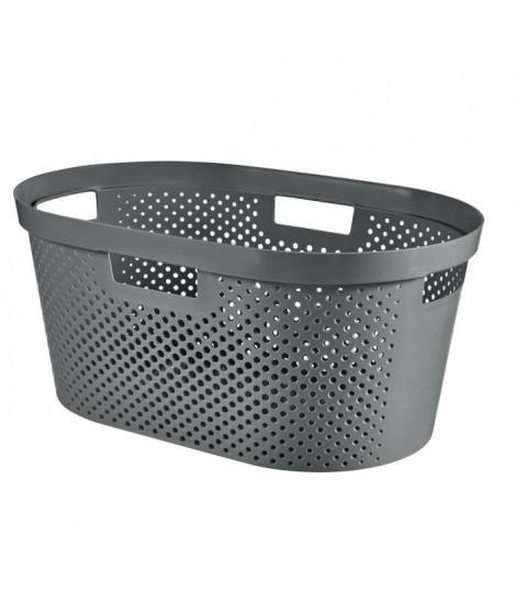 CURVER Panier a linge 40L Infinity Dots - Plastique recyclé - Gris