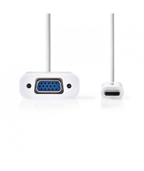 Cable Adaptateur USB Type-C | Type-C Male - VGA Femelle | 0,2 m | Blanc     ALPEXE-110