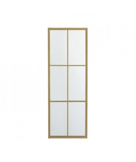 Miroir rectangulaire avec 6 petits carreaux - 38 x 3,2 x 107 cm - Jaune doré