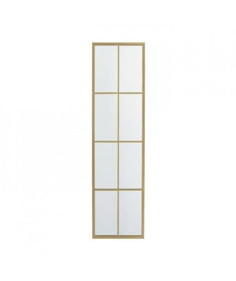 Miroir rectangulaire avec 8 petits carreaux - 38 x 3,2 x 142 cm - Jaune doré