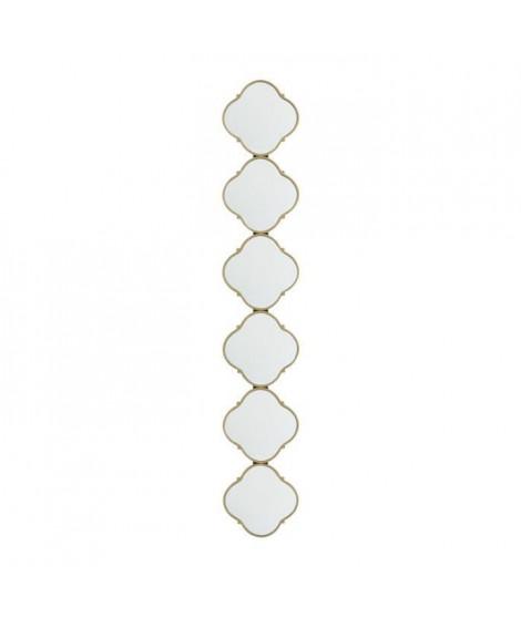 Miroir 6 losanges en hauteur - 23 x 3,2 x 137 cm - Jaune doré