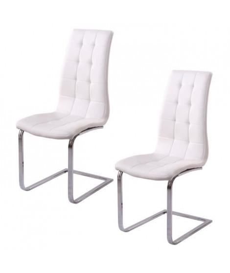 LUGANO Lot de 2 chaises de salle a manger - Simili blanc - Contemporain - L 48 x P 45 cm