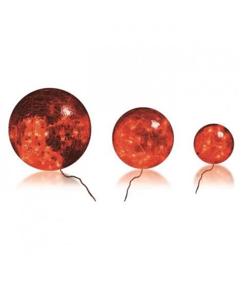 BLACHERE 3 boules verre Rouge - Ø Boules  20/15/10 cm - 60 LED Rouge - Câble Rouge Transparent 3,2V