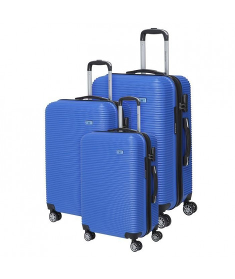 BERENICE Lot de 3 Valises Trolley Rigide ABS - 8 Roues - 50-60-70 cm - Bleu