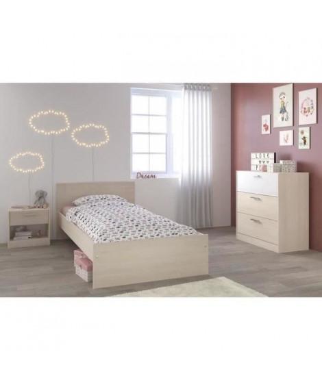 MARCO Chambre enfant complete style contemporain  décor acacia clair et blanc mat - l 90 x L 190 cm