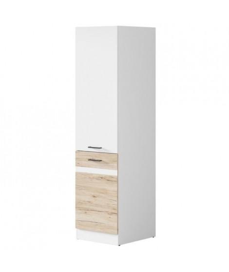 JUNONA Colonne de cuisine L 50 cm - Blanc brillant et décor chene San Remo clair