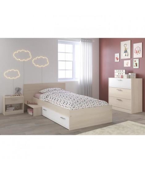 MARCO Chambre Enfant Complete style contemporain décor acacia clair et blanc - l 90 x L 190 cm