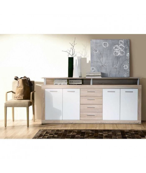 CAVA Buffet bas contemporain décor chene et blanc - L 197 cm