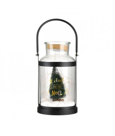 THE HOME DECO FACTORY Lampe Led de Noël Anse - En verre et métal - Noir, vert et doré