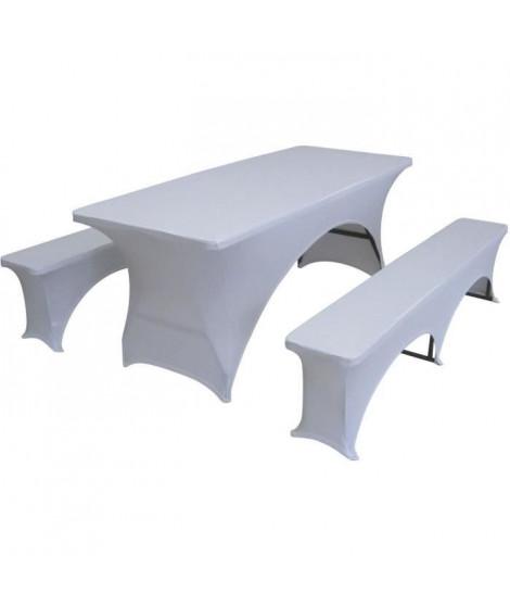 Lot de 3 couvertures pour la table et bancs mis a 180 cm set - Tissu : 10% spandex, 90% polyester, 190 gsm - Blanc