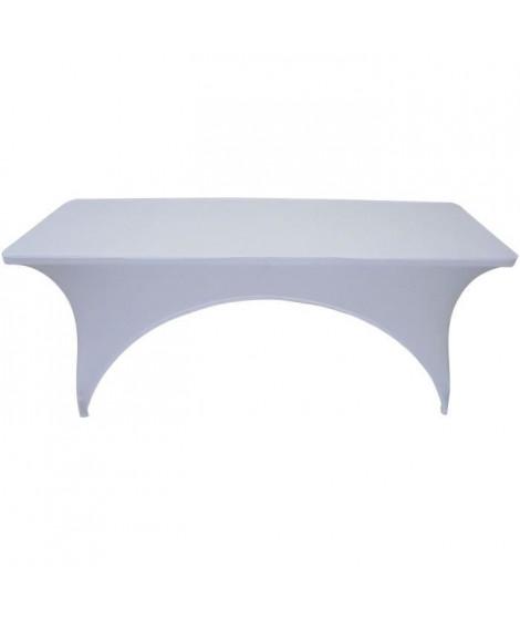 Couverture pour  table 180 cm - Tissu : 10% spandex, 90% polyester, 190gsm - Blanc