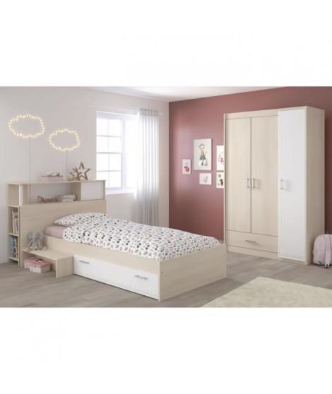 CHARLEMAGNE Chambre enfant complete - Tete de lit + lit + armoire - Style contemporain - Décor acacia clair et blanc