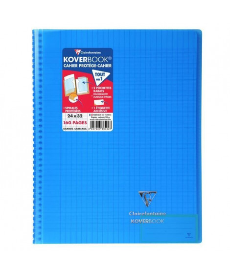 CLAIREFONTAINE - Cahier reliure avec rabats KOVERBOOK - 24 x 32 - 160 pages Seyes - Couverture polyproplylene translucide - Bleu