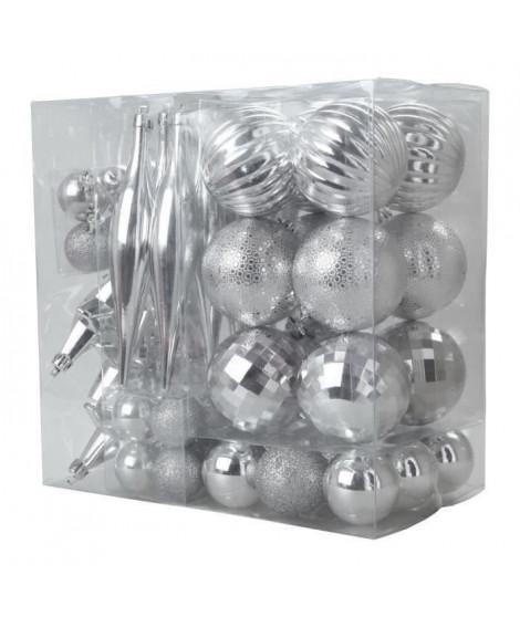 Lot de 60 boules de Noël + suspensions de Noël - Ø 6-16-4-3-7 cm - Argent