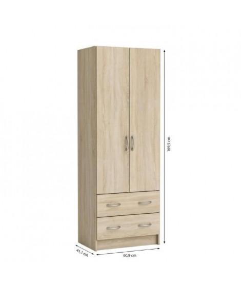 DUAL Armoire chambre adulte classique décor chene brossé - L 61 cm