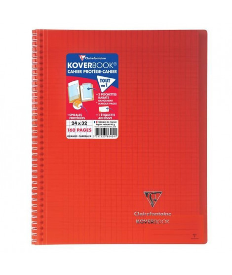 CLAIREFONTAINE - Cahier reliure avec rabats KOVERBOOK - 24 x 32 - 160 pages Seyes - Couverture polyproplylene translucide - R…