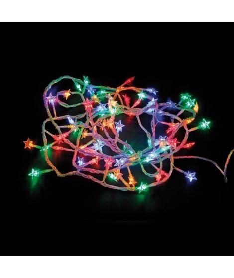 Guirlande étoile souple - 60 LED multicolore - IP44 - 31V - 8 fonctions avec mémoire - 5 m - Fil transparent