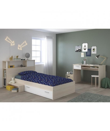 CHARLEMAGNE Chambre enfant complete Tete de lit + lit + bureau - Style contemporain - Décor acacia clair et blanc