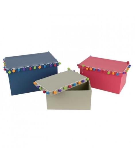THE HOME DECO FACTORY Lot de 3 boîtes gigognes - Avec pompons - Gris, rose et bleu