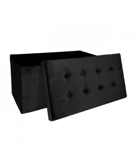 COTTON WOOD Banc Coffre pliable Velours - 76 x 38 x 38 cm - Noir