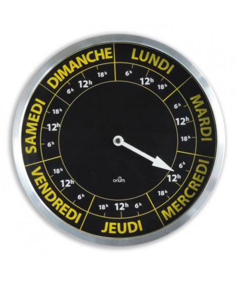 Horloge ORIUM Contraste Hebdo - Ø30 cm - Repere temporelle de la semaine - Quartz avec mouvement spécifique 7 jours