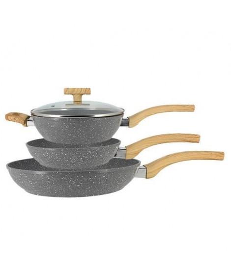 TheKitchenette Lot de 2 Poeles 20 et 28 cm et 1 Sauteuse 24 cm - Aluminium - Tous feux dont induction - Gris