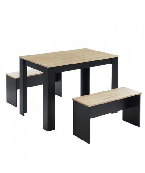 BLOOM Ensemble repas table + 2 bancs - Décor chene et noir - Style industriel - L 100 x P 70 x H 70,5 cm