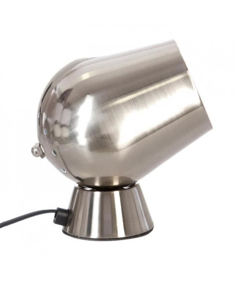 Lampe a poser déco touch en métal - Ø 12,5 x H 18 cm - Argent