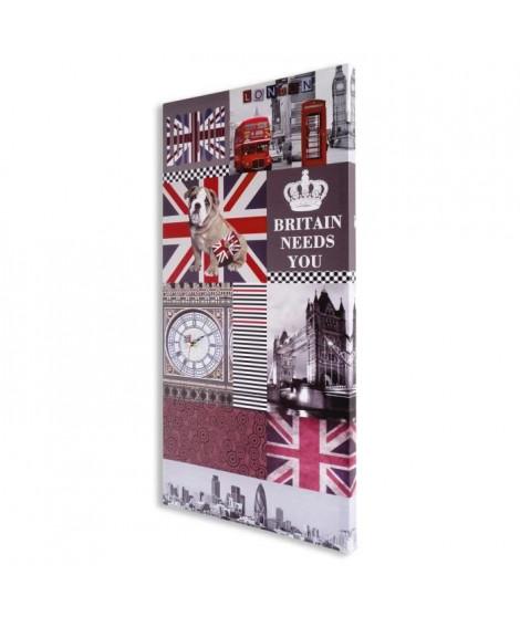 MUNDUS Toile Katelyn avec horloge - Symbole d'Angleterre - 40 x 80 cm