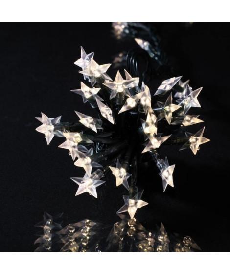 Guirlande étoile souple - 60 LED blanc chaud - IP44 - 31V - 8 fonctions avec mémoire - 5 m - Fil transparent