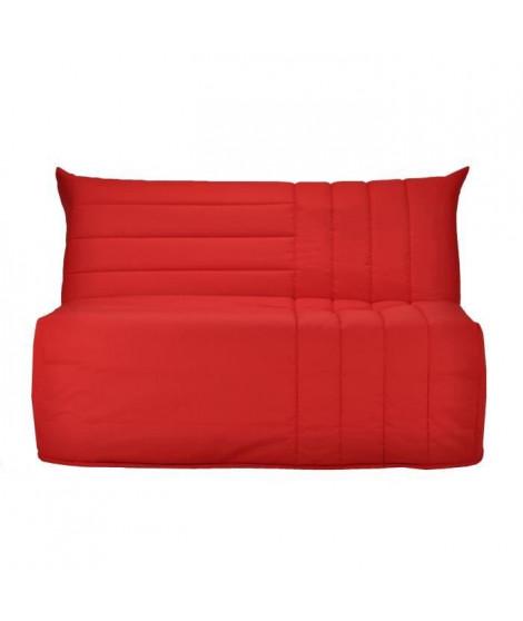 BULTEX Banquette BZ BECCI 3 places - L 142 x P 101 cm - Tissu rouge