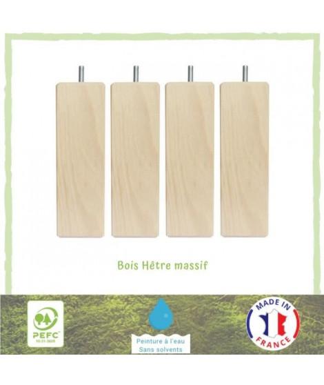 Jeu de pieds carrés en bois - L 7 x l 7 x H 14,5 cm - Lot de 4