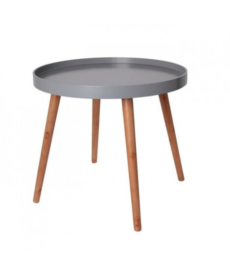 Table plateau ronde - Gris - L 50 x P 50 x H 50 cm