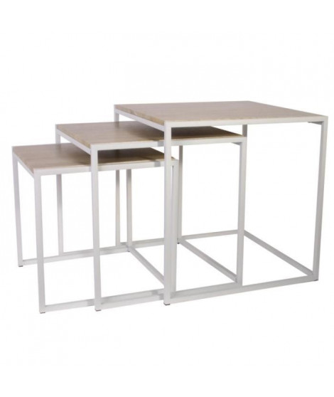 Lot de 3 Tables carrées gigognes - Blanc - L 45 x P 45 x H 45 cm