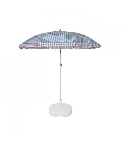 EZPELETA Parasol de plage Beach - Ø 180 cm - Vichy bleu Socle non inclus