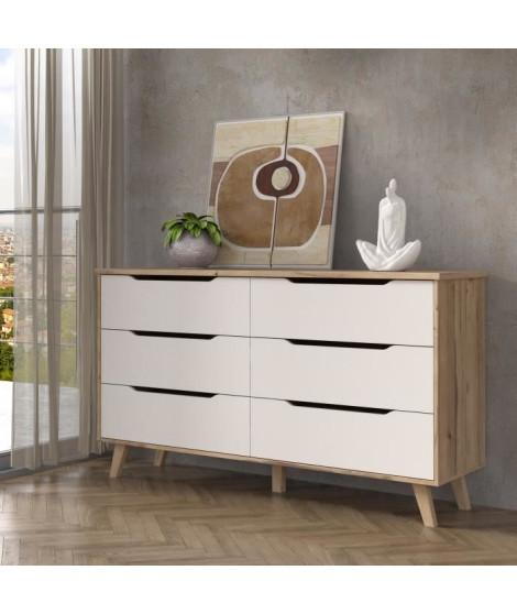 VANKKA Commode 6 tiroirs - Décor chene et blanc - L 154 x  P 42 x H 86 cm