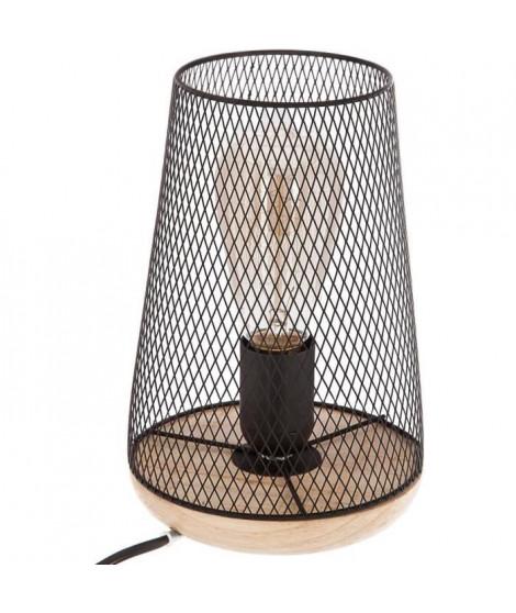 Lampe en métal et bois - H. 23 cm - Noir