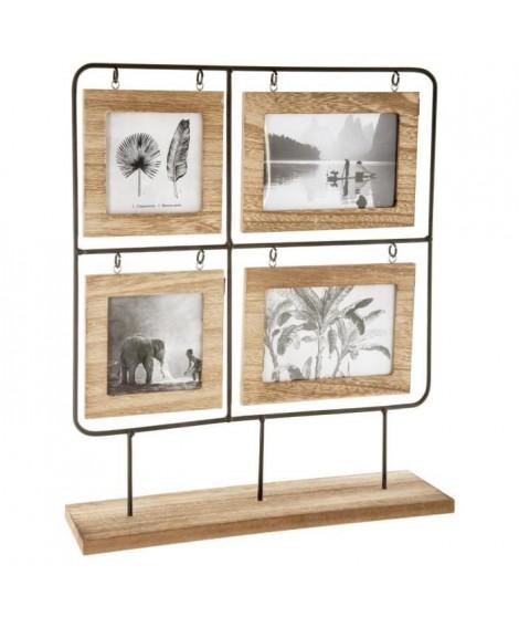 Pele-mele en bois - 36 x 42 cm - Beige