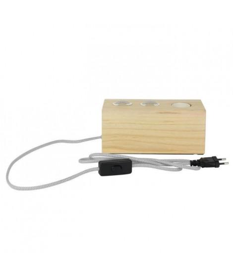 THE HOME DECO LIGHT Lampe a poser LA12017 rectangle - Bois cablé - Gris et blanc M4