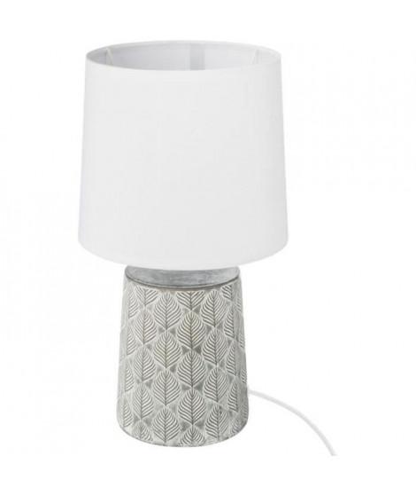 Lampe a poser en gres - E27 - 60 W - H. 35,5 cm - Gris