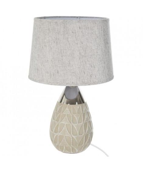 Lampe a poser en céramique- Ø 27,8 x H 46 cm - Beige