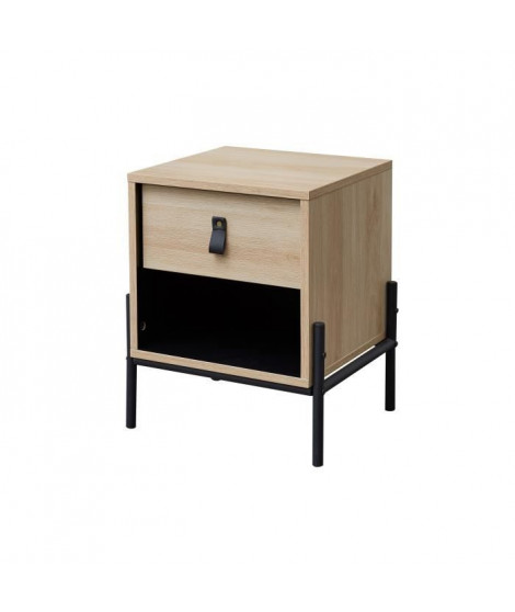 WORKSHOP Table de chevet enfant - 1 tiroir et 1 niche - Chene/Noir - L39 x P35 x H 47 cm