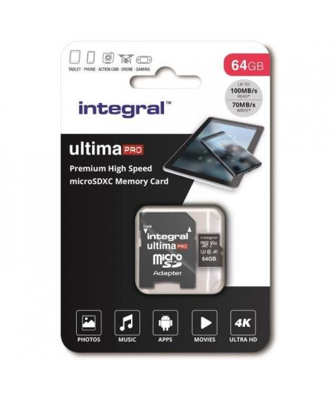 INTEGRAL MEMORY Premium High Speed V30 UHS-I U3 Micro SDXC 64GB 100MB/s en lecture et 70MB/s en écriture 4K