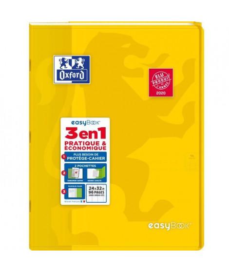 OXFORD - Cahier Easybook agrafé - 24 x 32 cm - 96p seyes - 90g - Jaune