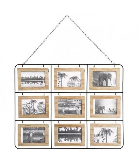 Pele-mele 18 photos en bois- 64 x 50 cm - Marron